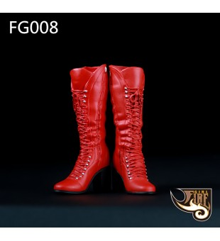 *Fire Girl 1/6 Red High Heels Leather Boots Shoes / 紅色皮革長靴高跟鞋 FG008