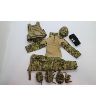 Army Camouflage Uniform (Vest, Hat And Gear Set) / 軍隊迷彩制服 (背心,帽及裝備套裝)