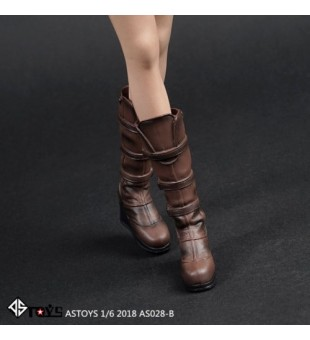 *ASTOYS 1/6 Brown Slope Heels Shoes / 啡色長筒鞋 AS028-B