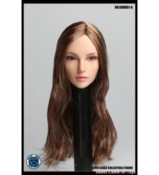 1:6 Super Duck SDDX01-A  Female Headsculpt Eye-Moving Head (Brown Hair) / 移動眼 女人頭 (棕色頭髮)