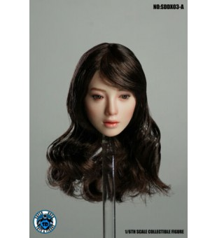1:6 Super Duck SDDX03-A Female Headsculpt Eye-Moving Head (Brown Hair)  /   移動眼  女人頭 (棕色頭髮)